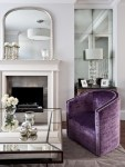Amazing See Through Chairs Living Room Traditional with Antique Mirror Studded Armchair Purple Accents Velvet Crystal Lamp Base Silk Lampshade Antique Mirror