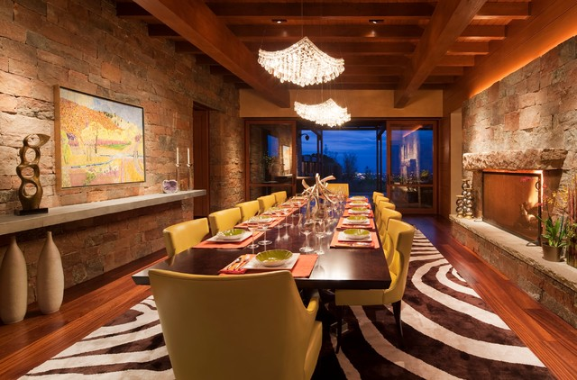 Astonishing Long Narrow  Dining Room Southwestern With Place Settings And Black And White Area Rug Accessories Black And White Area Rug Bright Yellow Accents Brown Chandeliers Dining Chairs Table