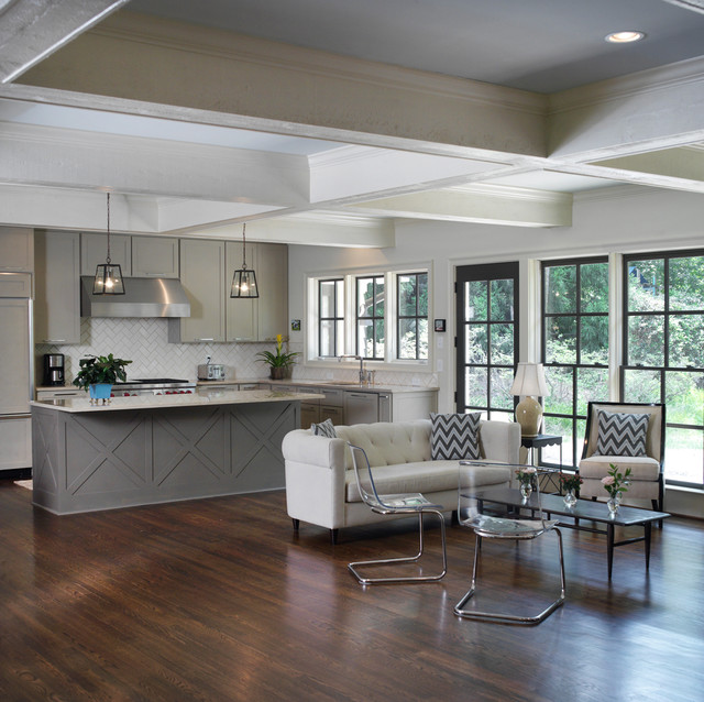 Brilliant Ceiling Coffers Kitchen Transitional With Iron Side Table And Chevron Pillow Beige Armchair Sofa Ceiling Beams Chevron Pillow Coffee Table Coffered Dark Wood Floor Glass Door Pendant Light