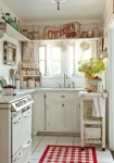 Delightful Distressed Kitchen Cabinets Shabby inspired inglewood Cottage with Crown Molding Vintage Range Red Accent Shabby Chic White Small Floor Tile Spice Rack
