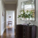 Delightful Paint Color Revere Pewter Hall Contemporary With Painted Walls And Turtle Creek Chair Rail Crown Molding Curved Credenza Dark Wood Framed Mirror Gray Walls Highland Park Painted Preston