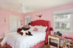 Glorious Pink Tufted Bed Kids Traditional with Headboard Night Stand Upholstered Red Ceiling Fan Wood Floor