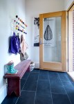 Good-looking Tips For Designing Entry Contemporary with Hang-it-all Contrast Grout Basalt Tile Floor Rear Entrance Eames Hang It All Slate Glass Door Custom Wood Vintage Bench Door Glazing