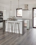 Imaginative Grey Bar Stools Kitchen Contemporary with High Gloss White Kitchen Breakfast Flooring Stainless Gray Stained Wooden Floor Metro Tile Splashback Black Color