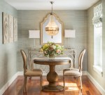 Impressive Coastal Dining Room Table Dining Room Traditional with Sea Grass Wallpaper Gold Accents Furniture and Home Decor interior Design Details Transitional Battery Wharf Round