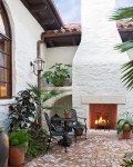 Impressive Outdoor Gas Fireplace Patio Mediterranean with Brick Paving Container Plants Accessories Living Potted Lighting Patio Furniture