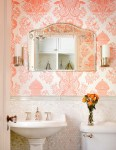 Impressive Seashell Wall Decor Bathroom Powder Room Traditional with Pedestal Sink Penny Tile Lighting Glass Knob Pearlescent Pink Wallpaper Wainscoting Etched