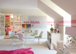 Marvelous Pink Girls Chair Kids Contemporary with Striped Wall Area Rug Sloped Ceiling Walk in Closet French Doors Round White Table Carpet Glas Tulip Chairs