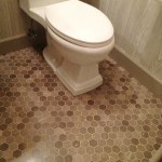 Pleasing Faux Tile Wallpaper Powder Room Traditional With Pedestal Sink And Pedestal Sink Faux Bois Wallpaper Gray Powder Room Los Altos Hills Marble Floor Tile Modern Pedestal Sink Powder Remodel