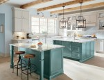 Pleasing Home Depot White Kitchen Cabinets Kitchen Contemporary with Tile Backsplash Contemporary Backless Bar Stools Hanging Lights Undermount Sinks Island Lighting Two Toned