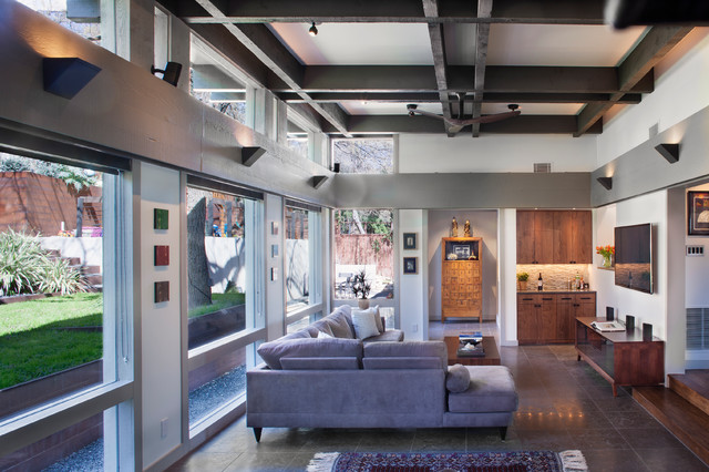 Pretty Ceiling Coffers Contemporary After With Metal Coffered Ceiling And Wall-mount Tv Ceiling Design Fan Clerestory Coffered Metal Exposed Beams Modern Ideas Family Room Lighting Living Windows