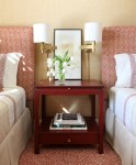 Splendid Red Twin Headboard Bedroom Transitional with Stacked Books Guest Bedroom Embroidered Bedding Greek Key Patterned Arpet Upholstered Grasscloth Swing Arm Lamp