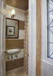 Terrific Rugby Stripe Curtains Bathroom Traditional with Wall Lighting Crown Molding Shower Neutral Colors Bathroom Mirror Mount Sink Painted Ceiling White Wood Striped Walls Horizontal