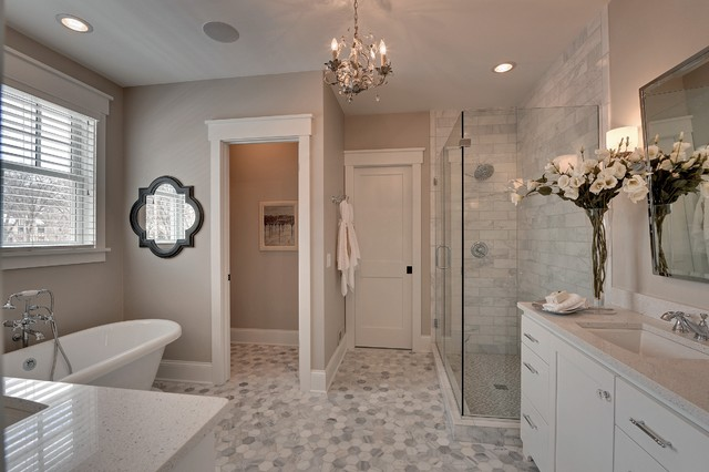 Wonderful Paint Color Revere Pewter Bathroom Traditional With White Blinds And White Door Frame Gray Counter Subway Tile Hexagonal Master Bathroom Quatrefoil Mirror Recessed Lighting Shower Light