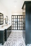 Amazing Black and White Floor Tile Patterns Bathroom Farmhouse with Towel Ring Lots Of Storage Vanity Wall Mirror His Hers Bathroom Modern Farmhouse Sconces