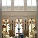 Astonishing Curtains Picture Window Living Room Mediterranean With Clerestory Windows And French Doors Arched Windows Beige Bench Chandelier