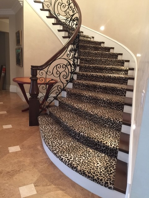Awesome Orange County Leopard Stair Runner Traditional Staircase   Leopard Carpet On Stairs   Zebra Print   Giraffe Print   Milliken   Patterned   Antilocarpa