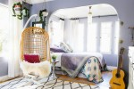 Beautiful Rattan Hanging Chairs Eclectic Venice California with Chair Elegant Antique Mid Century Decor Floor To Ceiling Curtains Lavender Walls Old Hollywood Glamour Rockin and Roll Spanish