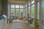 Beautiful Screened Porch Design Porch Eclectic with Wicker Lamp High Ceiling Gray Siding Patio Furniture Outdoor Living Space SCREEN PORCH in Lap