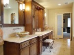 Beautiful Traditional Bathroom Vanity Bathroom Contemporary with Frosted Glass French Doors Vessel Sinks Wall Mount Faucet Recessed Lighting Medium Wood Cabinetry Towel Warmer Ceiling