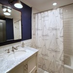 Brilliant Shower Curtains Pottery Barn Bathroom Tropical With Recessed Lighting And White Floor Tile Framed Mirror Gray Countertop Navy Blue Accent