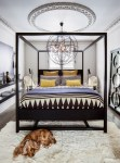 Delightful Baroque Mirror White Bedroom Eclectic with Floating Black Shelves Grand Master Bedrooms industrial Chandelier Panel Geometric Bedding Four Poster Bed Floorstanding Ceiling