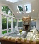 Splendid Screened Porch Designs Porch Traditional with Cathedral Celings Vaulted Ceilings Sectional Couch Celing Fan Ceiling insect Screen indoor-outdoor