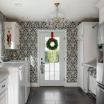 Dishy Lowes Laundry Room Storage Cabinets Laundry Room Transitional With White Cabinets And White Trim Black And White Wallpaper Chandelier Gray Floor