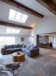 Dishy Room Color Schemes Living Room Contemporary with Grey Corner Sofa Animal Hide Rug Floor Tile Cathedral Ceiling Exposed Wood Beams Coffee Table