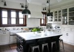 Extraordinary Cabinets with Glass Fronts Kitchen Traditional Front Stainless Steel Appliances Wood Window Frame Subway Tiles Range Hood Marais Stools Pendant Lights Swing Arm