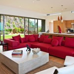 Fabulous Decorating With A Red Couch Living Room Contemporary With Sectional Sofa And Open Kitchen Ceiling Lighting Clerestory Glass Doors Great Room