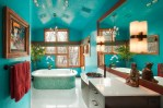 Fabulous Peacock Blue Bathroom Bathroom Contemporary with Free Standing Tub Venetian Plaster