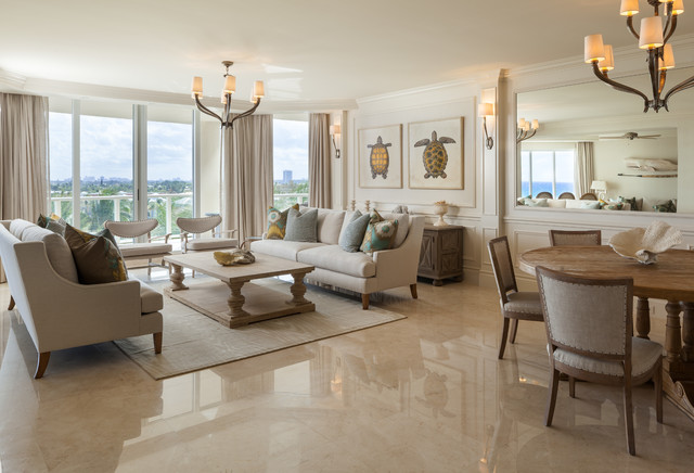 Glorious Wainscoting Full Wall Living Room Beach Style With Floor To Ceiling Windows And Beige Sofa Beige Sofa Chandelier Floor To Ceiling Windows