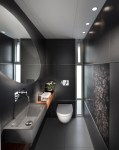 Good-Looking Wall Mount Toilet Bathroom Contemporary with Ceiling Lighting Mounted Faucet Accent Tiles Round Mirror Monochromatic Open Shelving Trough Sink Dark Floor Grey