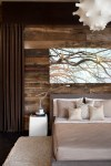 Good-looking Chocolate Brown Curtains Bedroom Contemporary with Salvaged Wood Wall Reclaimed Minimalist Warm Textures Contemporary Reading Light Night Stand Platform Bed Upholstered Curtain