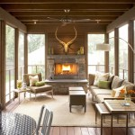 Good-looking Screened Porch Furniture Porch Traditional With Outdoor Rug And Outdoor Rug Ceiling Fan Mounted Antlers Nesting Tables Neutral Colors