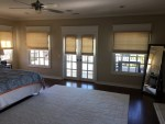 Imaginative Navy Roman Shade Bedroom Contemporary with Balcony Off Master White Crown Molding Beige Shades Window Covering French Doors White interior Trim Custom Window Treatments Dark