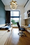 Lovely Japanese Platform Bed Home Office Contemporary with Black Task Chair White Cabinets Floating Desk Walls Tall Window Built in Medium Wood Flooring Blue Accent Wall Pendant Light