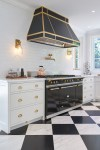 Pretty Carrara Marble Kitchen Kitchen Transitional with Handmade Tile Bianco Carrara Glamour Home Black Herringbone Grey and White Calacatta Navy Walls Brass Fixtures Finished Basement