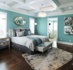 Sparkling Silver Gray Paint Bedroom Traditional with Pendant Light Round Mirror Flower Art Bright Blue Wall Dark Wood Floor Master Bedroom Lighting Throw Pillow Coffered Ceiling Hardwood