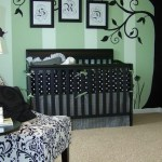 Splendid Common Paint Colors Nursery Traditional With Nursery Decals And Nursery Art Beige Carpet Black And White Chair Crib Picture Frames Tree Mural