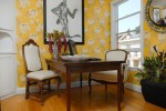 Splendid Home Office Wall Decor Home Office Eclectic with Baseboards Wood Flooring Yellow Walls House Plants Bergu00e8re Chair Wooden Desk Bold Colors Floral Print White Wallcoverings