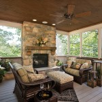 Terrific Screened Porch Furniture Porch Rustic With Stone Fireplace And Dark Wood Ottoman Brown Ceiling Fan Dark Hardwood Porch Furniture Wood Ottoman