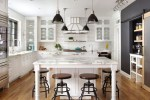 Terrific Statuary Marble Countertops Kitchen Traditional with Swivel Bar Stools Small Kitchen Appliances Window Above Sink Upper Cabinets Open Shelving White Island Range Hood
