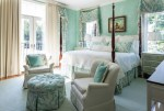 Terrific Turquoise Valance Traditional Five Points with Bedroom Furniture Printed Fabric Nightstand Tufted Ottoman Sea Foam Blue and Greens Table Lamp Master Four-poster Bed Bright Airy