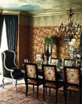 Amazing Vintage Upholstered Chair Dining Room Eclectic with Gold Accents Mixed Dining Furniture Painted Ceiling Wingback Crown Molding Chairs Chinoiserie Window Treatments