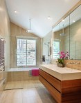 Awesome Bathroom Shower Glass Bathroom Contemporary with Towel Rack Wall Niche Matching Floor and Tile Floating Vanity Partition His Hers Sink Decor Louvered