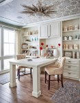 Beautiful Awesome Wallcovering Designs Home Office Traditional with White Vases Nailhead Trim Tufted Chair Starburst Ceiling Light Wallpaper Peninsula Desk Built in Bookshelf Cabinets