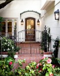 Beautiful Cottage Style Front Doors Terre A with Formal Garden English Iron Fence Path Exterior Lanterns Wrought Gate Brick Yard English Tudor
