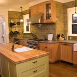 Blooming Green Subway Tile Kitchen Backsplash Kitchen Contemporary With White Wood And Two Tone Cabinets Apron Sink Butcher Block Countertops Ceiling